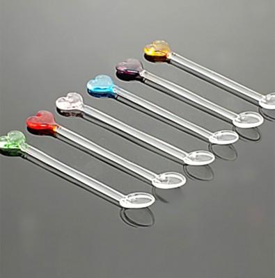 Diğer - 6lı Kalp Motifli Renkli Cam Çay Kaşığı Seti