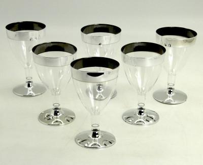 Diğer - 6lı Konik Lohusa Şerbeti Bardağı ve Tatlı Sunum Kadehi Gümüş