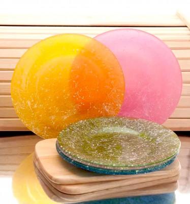 Joy Glass - 6lı Rengarenk Koton Desenli Pasta Tabağı Seti