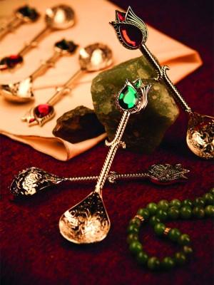 Diğer - 6lı Renkli Lale Motifli Taşlı Gümüş Çay Kaşığı