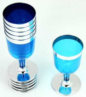 Diğer - 6lı Renkli Lohusa Şerbeti Bardağı ve Tatlı Sunum Kadehi Mavi