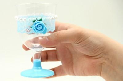 Diğer - 6lı Süslenmiş Plastik Lohusa Şerbet Kadehi Mavi