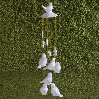 Diğer - 7li Kuş Tasarımlı Seramik Rüzgar Çanı