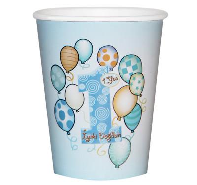 Diğer - 8li 1 Yaş Doğum Günü Karton Parti Bardağı Mavi