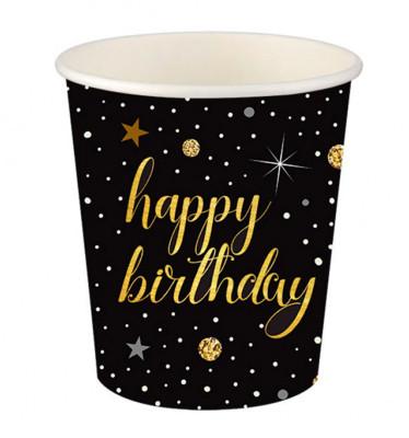 Diğer - 8li Işıltılı Görünen Happy Birthday Karton Bardak