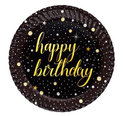 Diğer - 8li Işıltılı Görünen Happy Birthday Karton Tabak