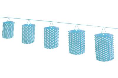 Diğer - 8li Puantiyeli Kağıt Akordeon Fener Süs 10cm Mavi