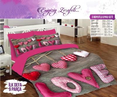 Alaca - Alaca Love 3D Çift Kişilik Saten Uyku Seti 9 Parça