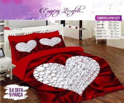 Alaca - Alaca Pırlantanın Aşkı 3D Çift Kişilik Saten Uyku Seti 9 Parça