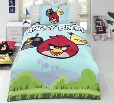 Diğer - Angry Birds Doğa Desenli Tek Kişilik Nevresim Takımı