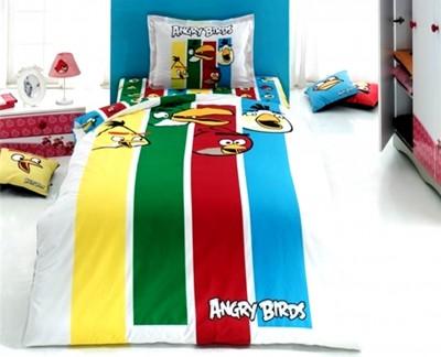 Diğer - Angry Birds Renkli Şerit Pamuklu Nevresim Takımı Tek Kişilik