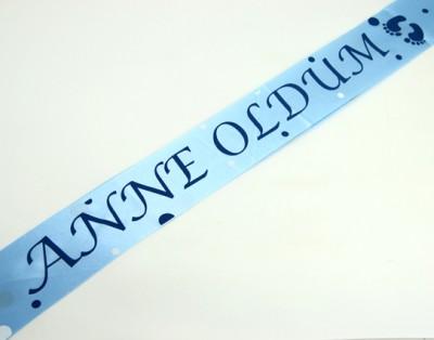 Diğer - Anne Oldum Yazılı Saten Omuz Kuşağı Mavi