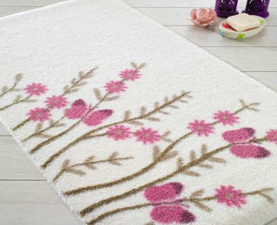 Confetti - Aroma Pembe Çiçekli Banyo Halısı Beyaz 55x57cm