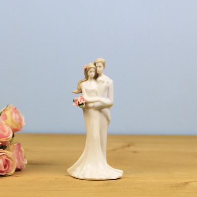 Diğer - Aşık Çift Çiçekli Porselen Biblo 16cm