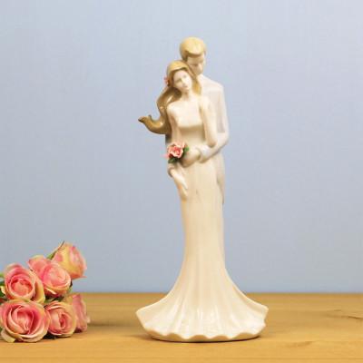 Diğer - Aşık Çift Çiçekli Porselen Biblo 27,5cm