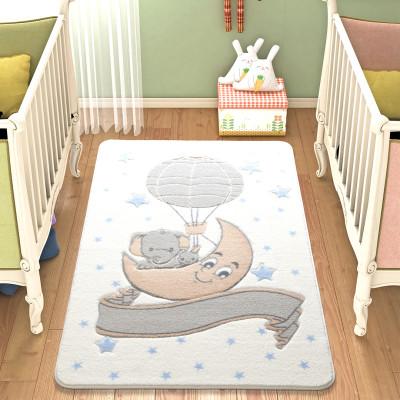 Diğer - Ay Üzerinde Fil Desenli Çocuk ve Bebek Odası Halısı Beyaz 133x190cm