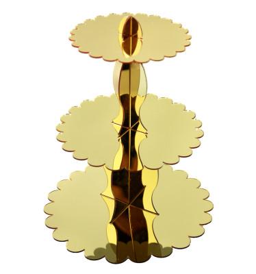Diğer - Aynalı Pleksi 3 Katlı Cupcake Standı Gold