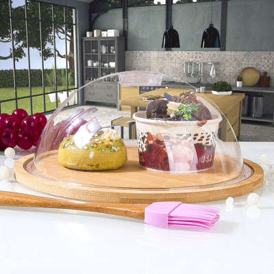 Diğer - Bambu Altlıklı Yuvarlak Pasta ve Kek Fanusu 24cm