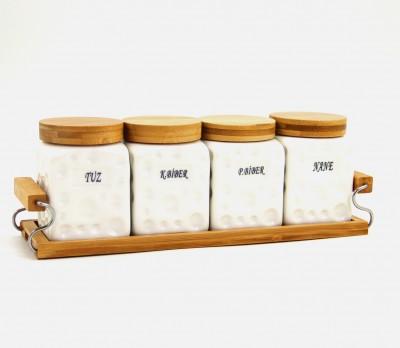 Diğer - Bambu Stand ve Kapaklı Köşeli 4lü Porselen Baharat Seti