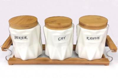 Diğer - Bambu Stand ve Kapaklı Prizma 3lü Porselen Baharat Seti