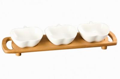 Diğer - Bambu Tepsili Tutma Kulplu Elma Tasarımlı Porselen 3lü Sunum Seti