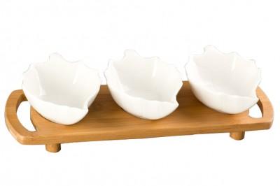 Diğer - Bambu Tepsili Tutma Kulplu Yaprak Şeklinde Porselen 3lü Sunum Seti