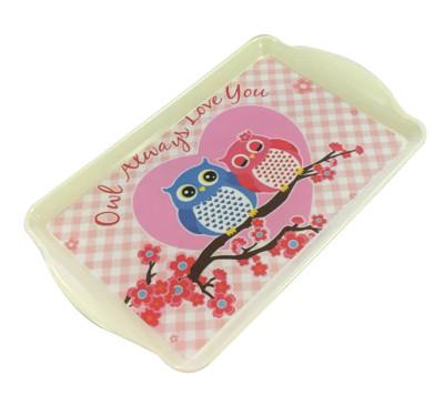 Baykuş Baskılı Dikdörtgen Mini Melamin Tepsi - Thumbnail