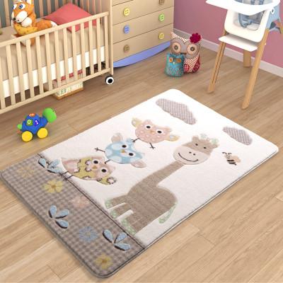 Diğer - Baykuş ve Zürafa Desenli Çocuk ve Bebek Odası Halısı Açık Kahve 100x150cm