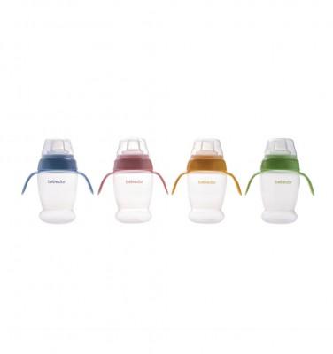 Bebedor - Bebedor Kapaklı Kulplu Silikon Oluklu Alıştırma Bardağı Mavi