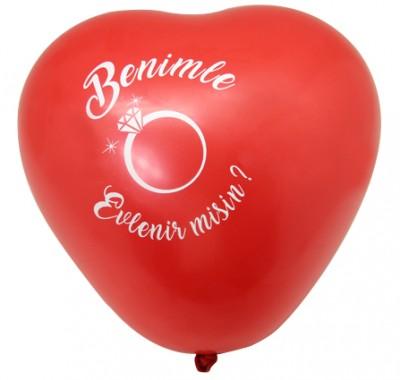 Diğer - Benimle Evlenir Misin Yazılı Kalp Şeklinde Balon Kırmızı 100 Adet