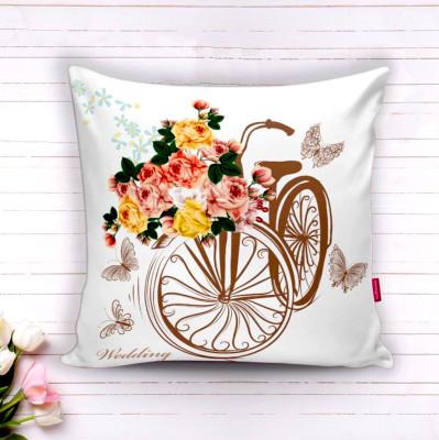 Diğer - Bisiklet ve Bahar Çiçekleri Dekoratif Kırlent Kılıfı 43cm