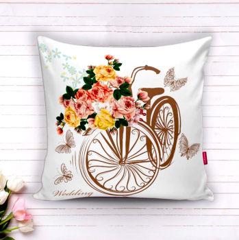 Bisiklet ve Bahar Çiçekleri Dekoratif Kırlent Kılıfı 43cm