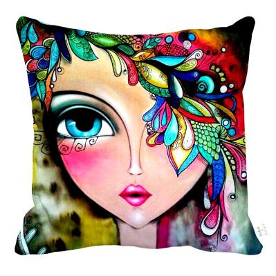 Diğer - Bohem Kız ve Renkli Desenler Dekoratif Kırlent Kılıfı 43cm