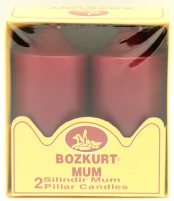 Bozkurt Mum - Bozkurt Silindir Şeklinde Kütük Mum 2li Bordo 12 cm