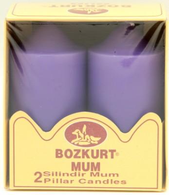 Bozkurt Mum - Bozkurt Silindir Şeklinde Kütük Mum 2li Mor 12 cm