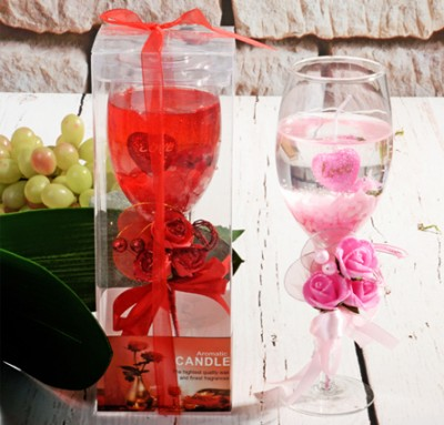 Diğer - Cam Şarap Kadehi İçerisinde Dekoratif Jel Mum