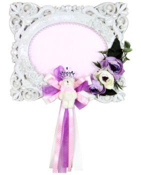 Çerçeve Şeklinde Çiçekli Ayıcıklı Kız Bebek Kapı ve Duvar Süsü Malzemesi Lila