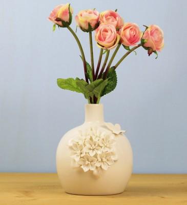 Ancel - Çiçek ve Kelebek Kabartmalı Porselen Tombul Vazo 15cm