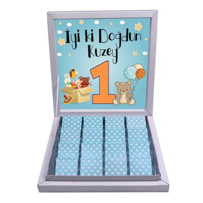 Diğer - Çikolata Kutusu İçin Doğum Günü Temalı Özel Tasarım Baskı 21x21cm