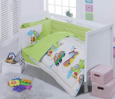 Cotton Box - Cotton Box Araba Baskılı Pamuklu Bebek Uyku Seti