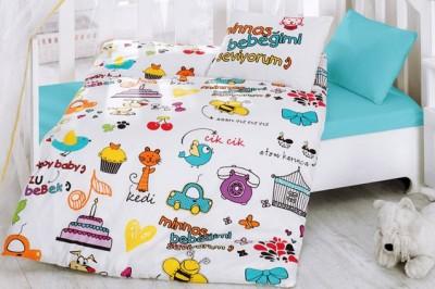 Cotton Box - Cotton Box Minnoş Bebeğimi Seviyorum Yazılı Mutlu Bebek Nevresim Takımı Beyaz