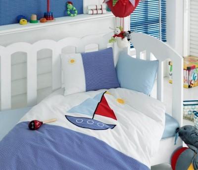 Cotton Box - Cotton Box Yelkenli Brode Lüx Nakışlı Bebek Nevresim Takımı