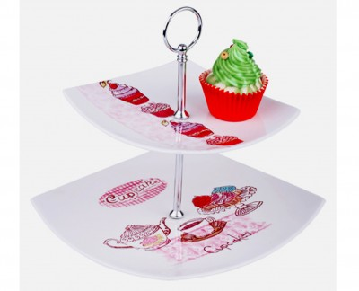 Diğer - Cupcake Desenli 2 Katlı Kurabiye ve Servis Tabağı