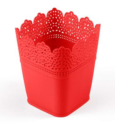 Diğer - Dantel Desenli 3lü Plastik Kare Saksı Seti Kırmızı