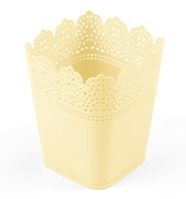 Diğer - Dantel Desenli 3lü Plastik Kare Saksı Seti Krem