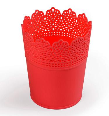 Diğer - Dantel Desenli 3lü Plastik Saksı Seti Mercan