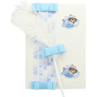 Diğer - Dantel ve Fiyonk Kapaklı Bebek Anı Defteri İle Tüylü Kalem Mavi