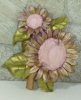 Diğer - Dekoratif El Boyaması Çiçek Duvar Panosu Günebakan Pembe