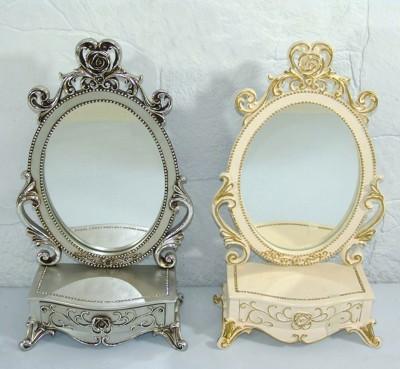 Diğer - Dekoratif Klasik Tasarımlı Çekmeceli Konsol Ayna Gümüş 48cm