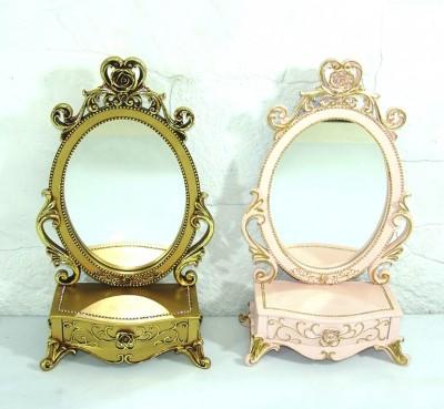 Diğer - Dekoratif Klasik Tasarımlı Çekmeceli Konsol Ayna Pembe 48cm